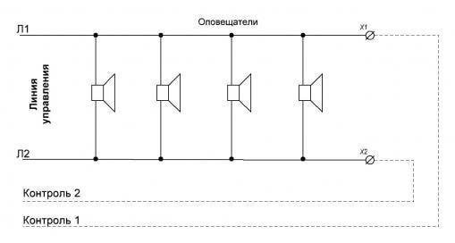 контроль оповещателей дополнительными линиями - схема