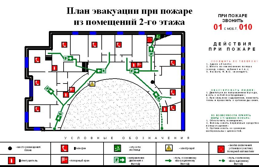 Этажный план эвакуации при пожаре